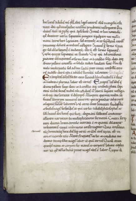 Page of text with 1-line red and blue initials. Prickings clearly visible.  Marginal note.