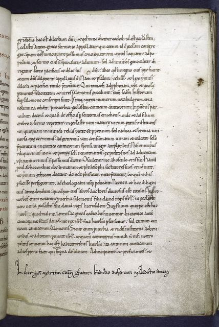 "Text with note of ownership and warning by monastery of St. Martin of Tournai -- ""Liber sancti martini tornacii servantii benedictio auferenti maledictio amen."" Prickings clearly visible."