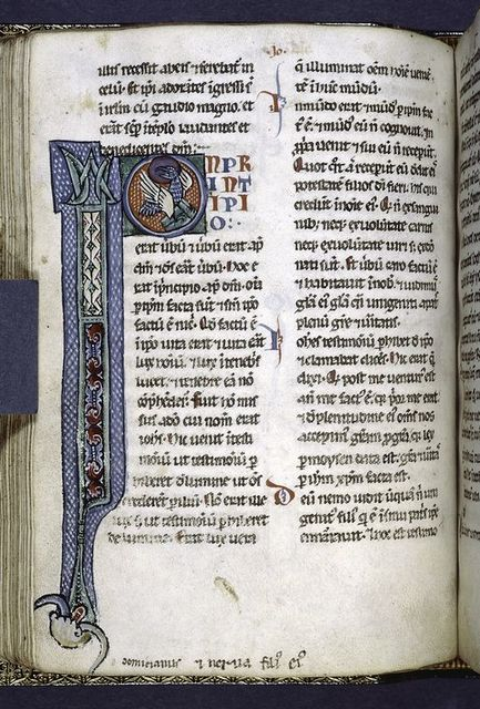 Opening of John with elaborate initial showing eagle.  Smaller initials, placemarkers.