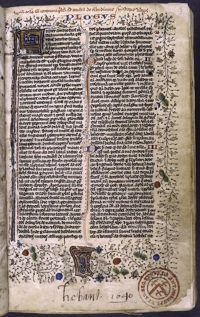 Opening of text with large initial, rubric, full border design, small initials with penwork, placemarkers, name of book and chapter number in red and blue.  Later note and library stamp.