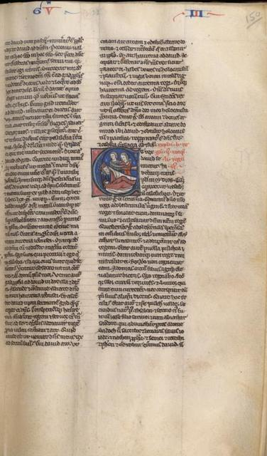 III Kings, historiated initial: Abishag and David, marginal sketch
