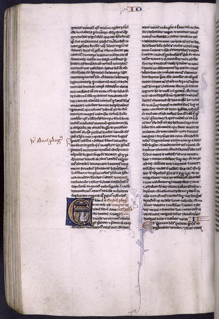 Illuminated initial showing Jonah and the whale, 2-line initial with penwork, rubric, book name and chapter number.