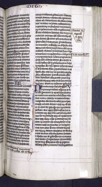 "Page of text with initials, additional text in margins, and in bottom margin scribe's directions for initial ""t iiii""."