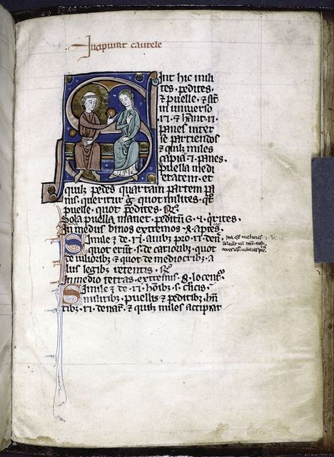 Historiated initial of a cleric (rather than the soldier of the word problem that the image illustrates) handing a round bread to a girl.