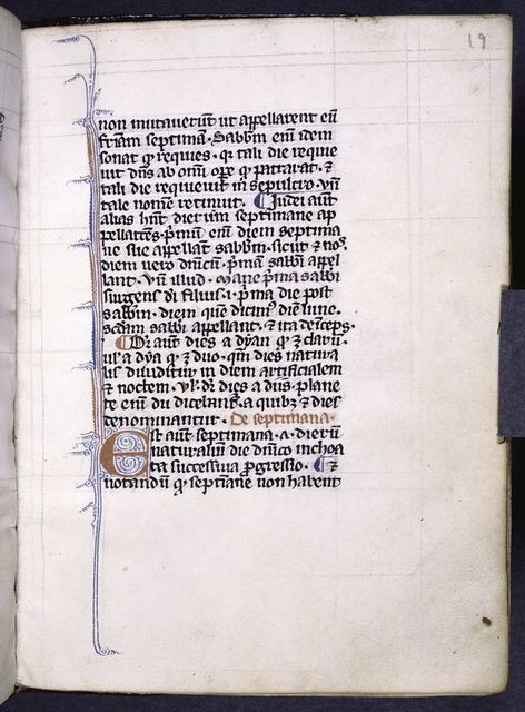 Page of text, initial with penwork, rubrics and placemarkers.