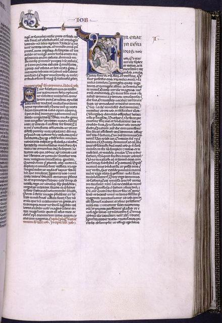 Illuminated initial of Job covered in sores.  Small painted initial in blue, orange etc.  Rubric.  Book name and chapter number in red and blue.