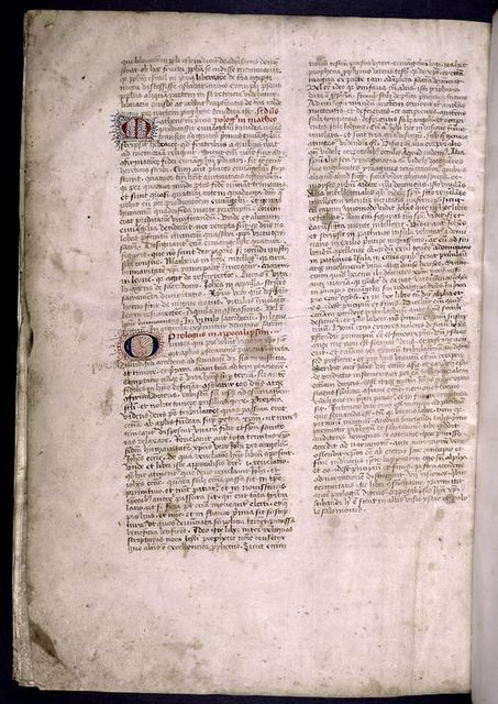 Hand 2, prologues for Matthew and Apocalypse.  3-line initials with penwork.  Rubrics.  Explicit.