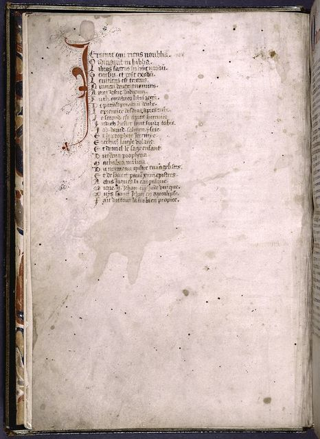 Macaronic verse in French and Latin on the order of books in the Bible: Jeroime qui riens n'oublia/Ordinavit in biblia/ Libros sacros in hunc modum . . .