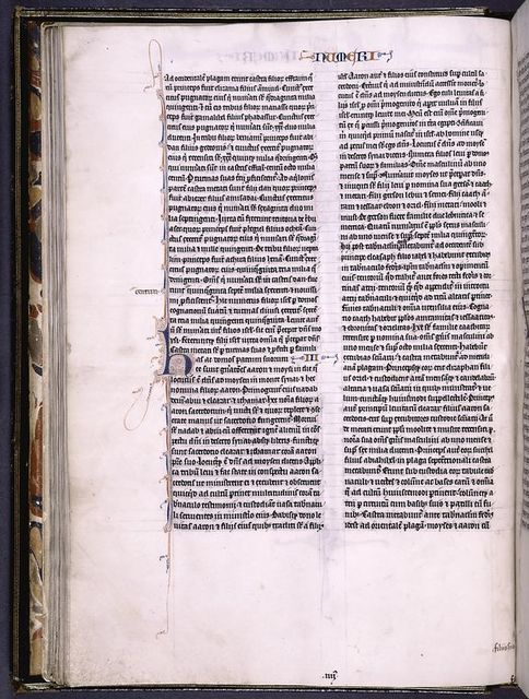 Page of text with 4-line red and blue initial with penwork, chapter number and book name in red and blue, pale yellow daubs as placemarkers, and quire number and catchword.