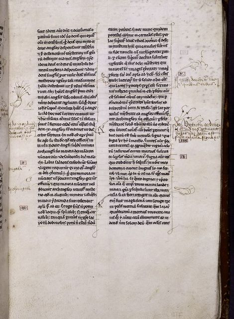 Page of text with commentary and pointers in margins.