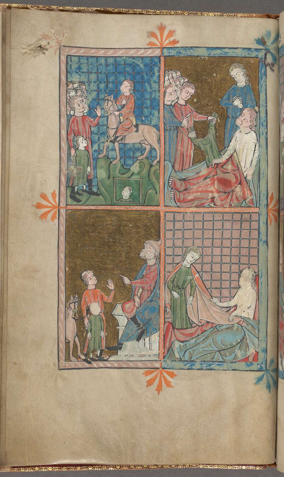 Full-page miniature with four scenes: Joseph sold into slavery; Jacob seeing Joseph's coat; Joseph in Egypt; Potiphar's wife, fol. 4v