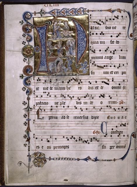 Large illuminated initial.  Smaller initials, rubrics, border designs.
