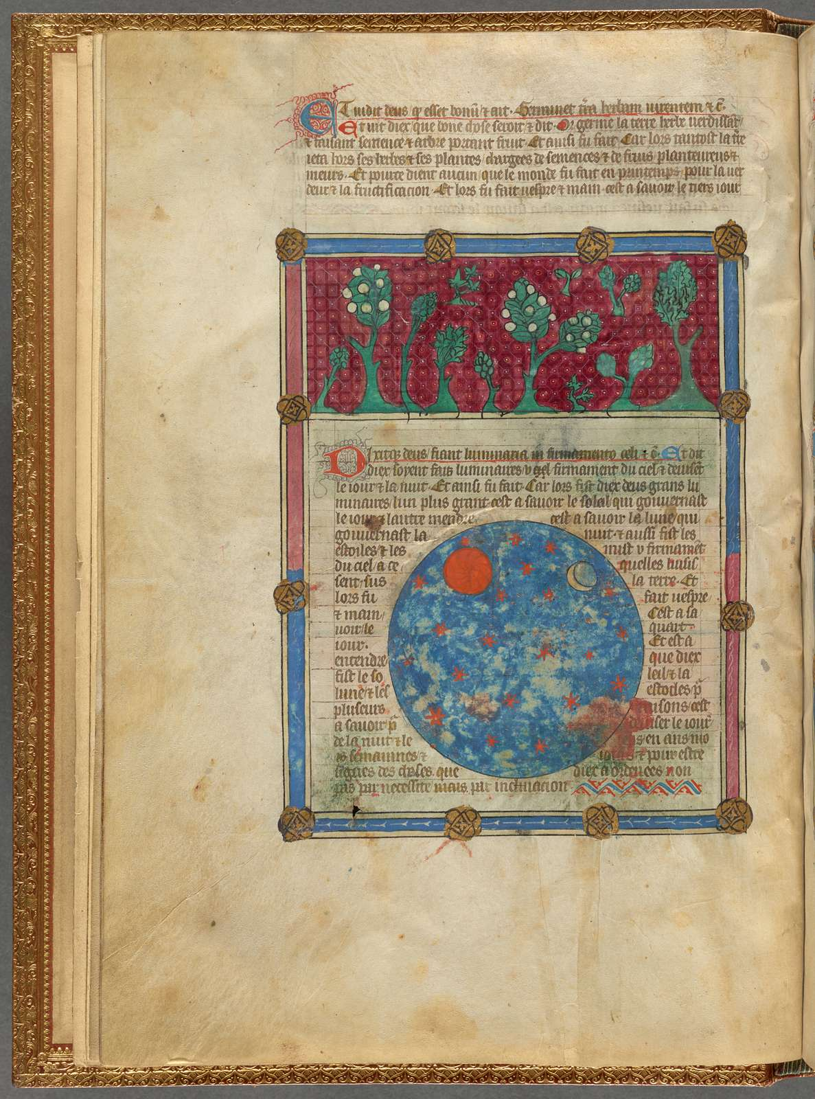 Miniature of flora on the earth and stars in the heavens, with text, initials, placemarkers, linefiller, fol. 4v