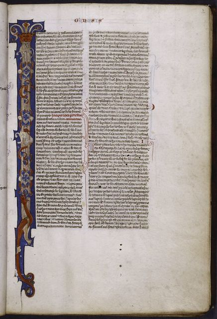 Opening of Genesis with very large painted initial, small blue initial, placemarkers, rubric, etc.