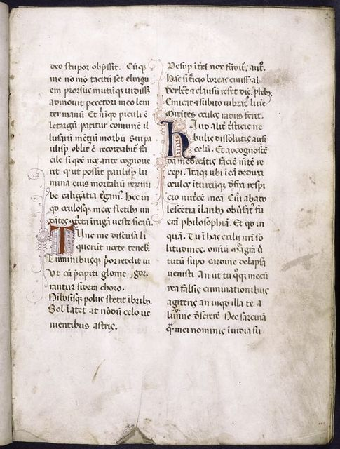 Page of text with small initials and penwork, very pale daubs of yellow as placemarkers.