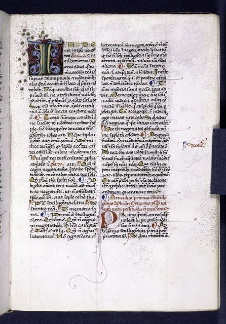 Large and small initial, placemarkers and rubrics, marginal note.