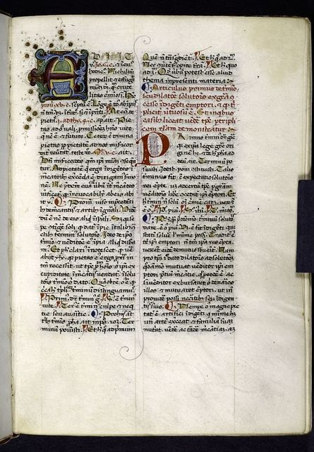 Opening of text.  Large multi-colored initial (including gold), smaller red initial.  Rubrics, placemarkers.