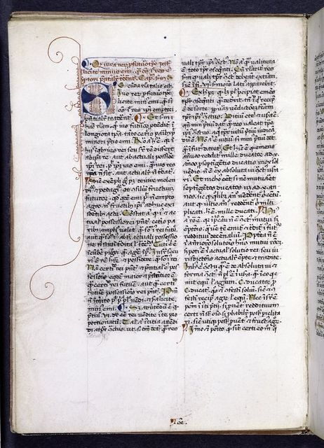 Page of text.  Blue initial with red penwork, rubric, placemarkers, and catchword.