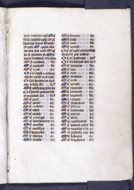 Page of text -- list of saints.