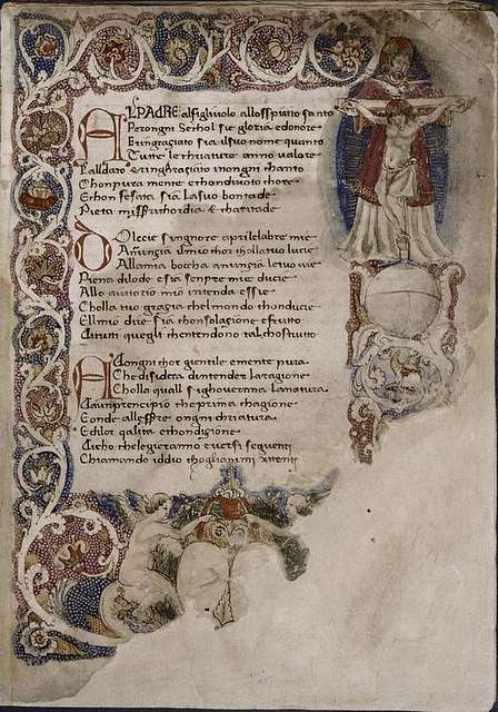 Opening of La Sfera, border design with human figures (partially damaged); initials