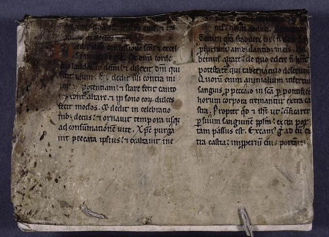 Front cover of manuscript: vellum page from 15th century missal.