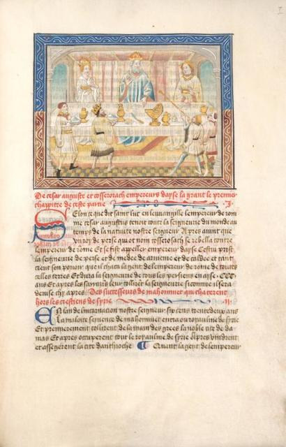 Caesar Augustus, his wife and son at table, receiving homage and gifts from another king, Cosserosach, and his attendant. Initials, rubrics, linefillers, placemarkers.