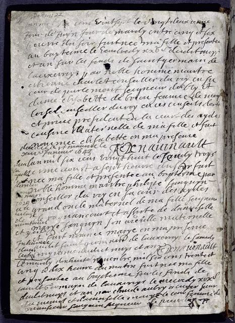 Inside front cover. Birth notices in French.