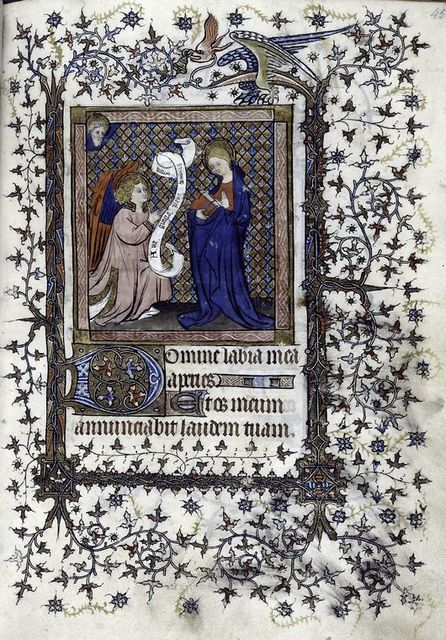 Miniature of Annunciation against a tessellated ground.