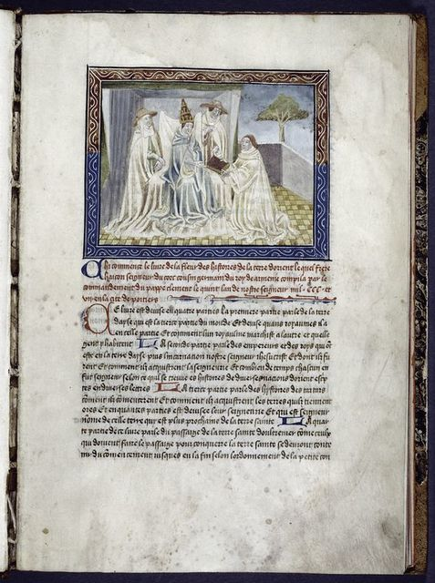Miniature of Jean Hayton, in his Premonstratensian robes, offering his book to Clement V.  Rubric, puzzle initial and small initial, linefiller.