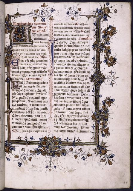 Opening of main text with large initial, border decoration; sketches of birds in lower border.