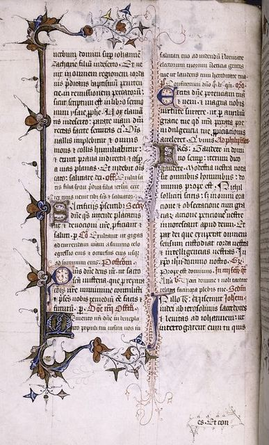 Page of text with initials and penwork; border; catchword.