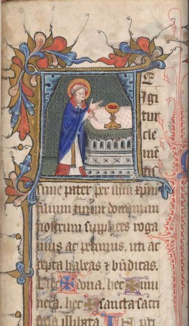 Te igitur, historiated initial, Priest at altar