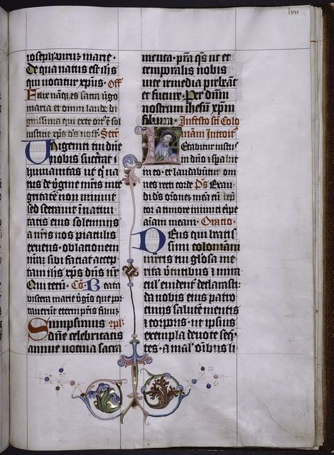 Initial with illumination, red and blue initials, border design, rubrics and placemarkers.
