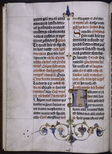 Large initial on gold fields, border design, rubrics, small initials, placemarkers, quire signature?