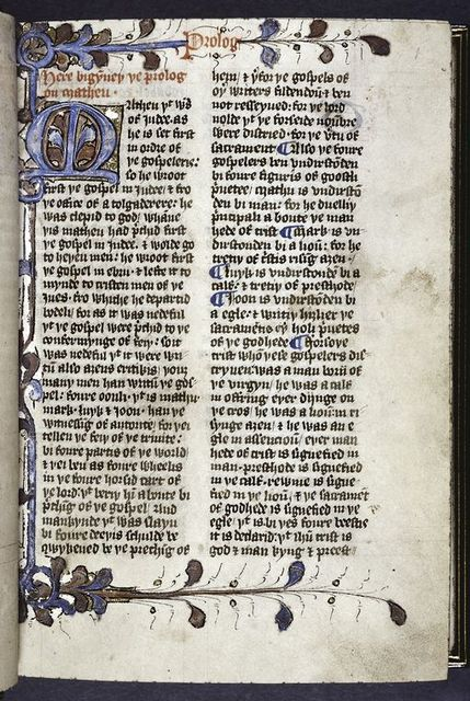 Opening of main text.  Large initial on gold field with decorations extending into border, rubric, placemarkers.