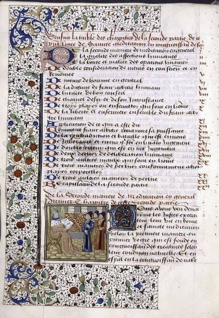 Opening of book two, miniature, initial with penwork and blue initial on gold, border design.