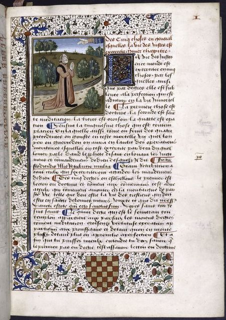 Opening of first book, miniature with large blue initial, border design, arms of first owner, placemarkers, rubric.