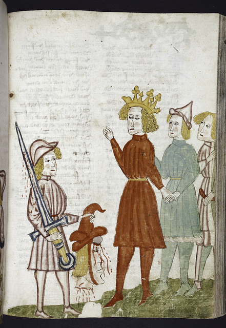 Full-page miniature of David presenting Goliath's head to Saul.