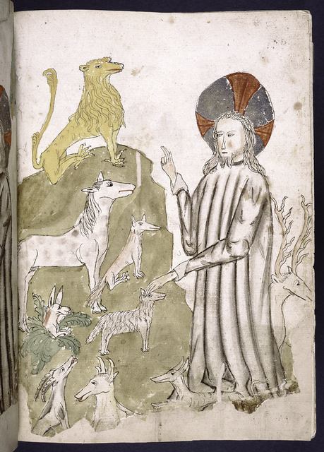 Full-page miniature of God creating animals.