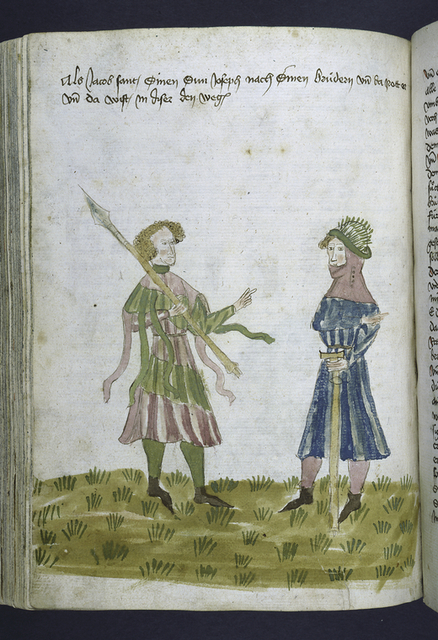 Full-page miniature of Jacob and Joseph.