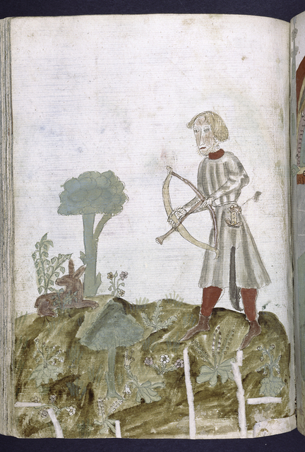 Full-page miniature of man hunting with a bow.