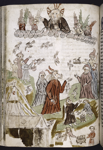 Full-page miniature showing God and angles, and men feeding birds.