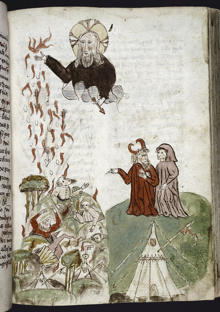 Full-page miniature showing God raining arrows of fire.