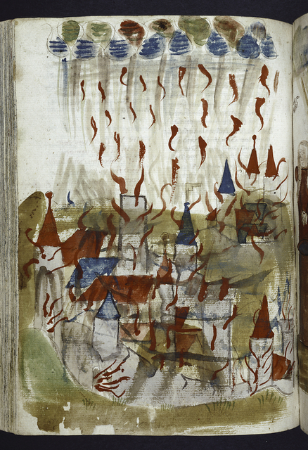 Full-page miniature showing rain of fire on a city.