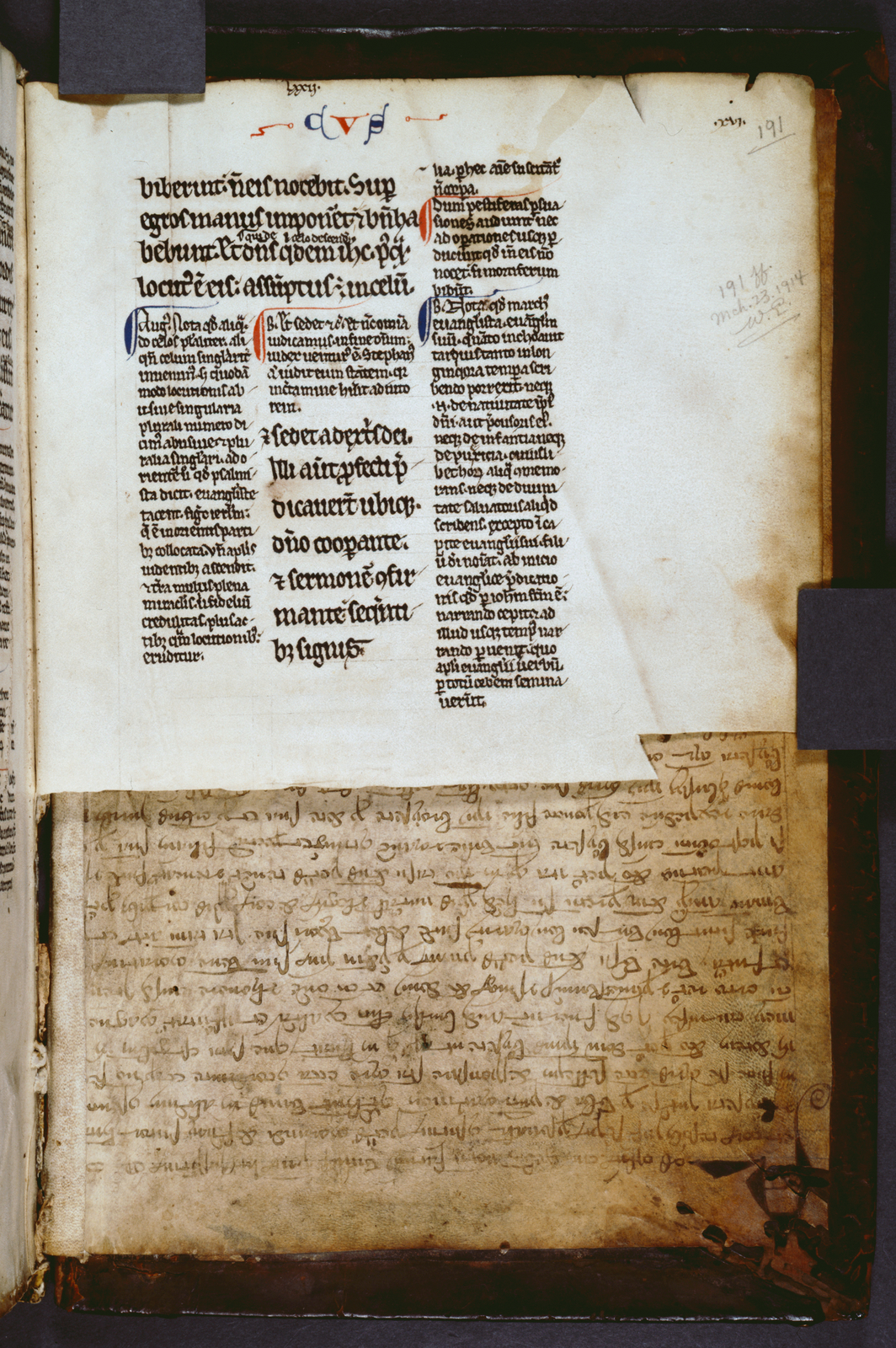 Marginal note, 3 columns of text, placemarkers.