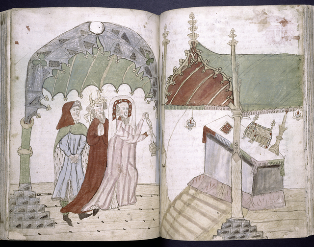 Miniature across two pages, showing worship at an altar.