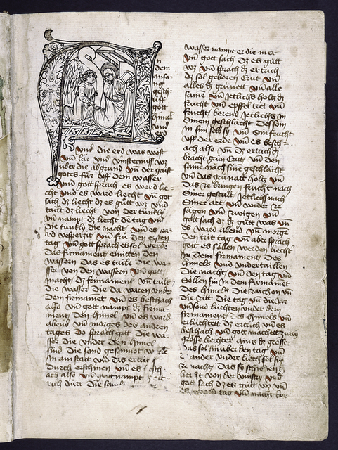 Opening of text with large engraved initial of the Annunciation.  Red slashes as placemarkers.