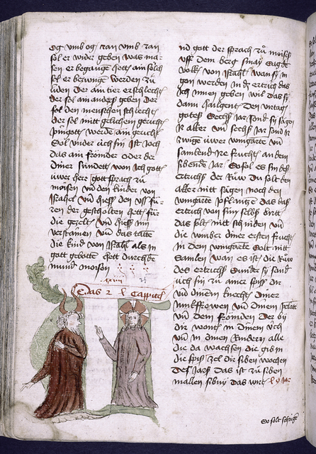 Page of text with placemarkers, rubric, and large green historiated initial, showing two figures.  Catchword.
