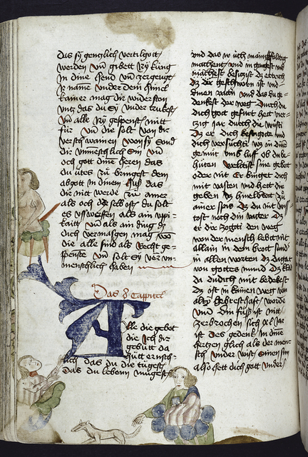 Page of text with placemarkers, rubric, large blue initial, and human figures in border -- some loss to trimming.