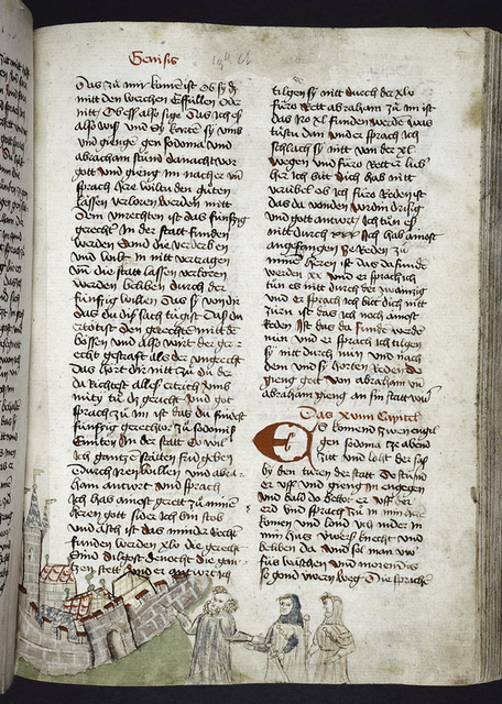 Page of text with placemarkers, rubric, large red initial.  Scene shown in lower border.